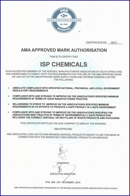 Certification ISP Chemicals